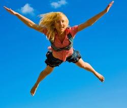 Skydiving girl, happy like an elephant