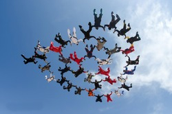 Skydiving large group formation