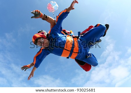Skydiving photo. Skydiver's eyes are closed.