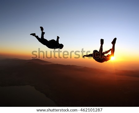 skydiving sunset
