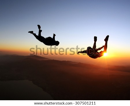 Skydiving sunset landscape