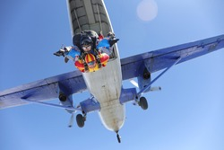 Skydiving. Tandem jump. An amazing adventure into the sky.
