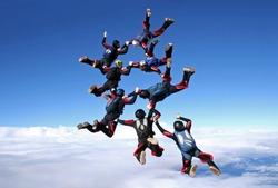 Skydiving team work big group