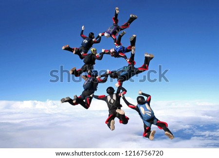 Skydiving team work big group