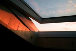 skylight sunset, open roof window sun light