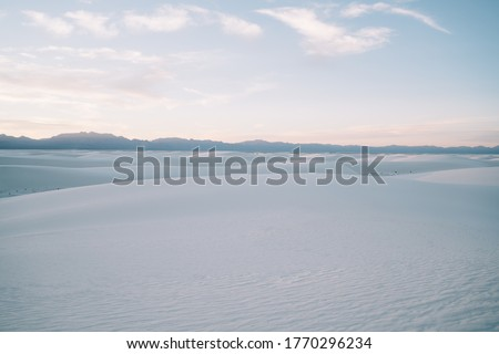 Skyline and picturesque landscape of dim white dunes of White Sands National Park in state of New Mexico United States Foto d'archivio ©