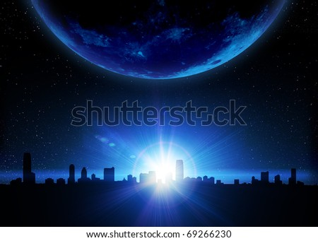 Skyline and planet with sunrise in space