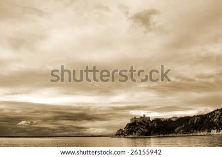 Skyline at the Castello, Trieste, Adriatic Sea, Italy