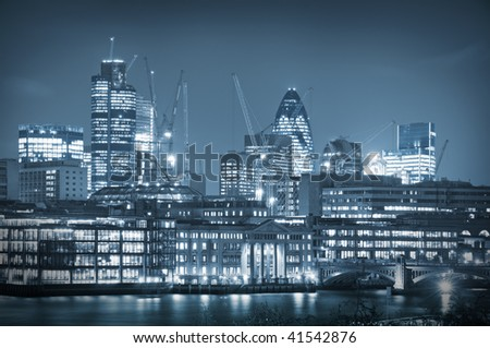 Skyline City of London. City of London one of the leading centres of global finance.this view includes :Tower 42 Gherkin,Willis Building, and Stock Exchange Tower.