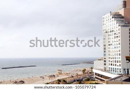 skyline cityscape high rise hotel on beach Mediterranean sea Tel Aviv Israel