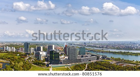 Skyline Donau City Vienna at the danube river