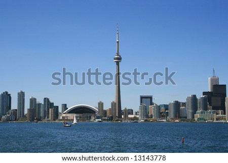 Skyline Downtown Toronto - including the Rogers Center, CN Tower, and banking district