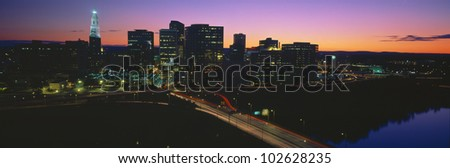 Skyline, Hartford, Sunset, Connecticut - stock photo