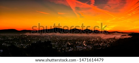 Skyline in a colorful sunrise over the Rhine Valley