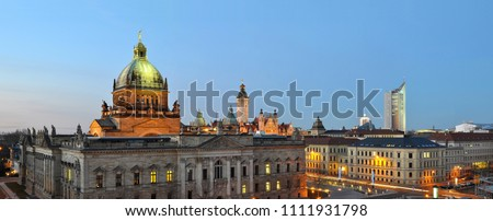 skyline leipzig in germany at night - federal administrative court - university and other historical building for sightseeing and visit #1111931798