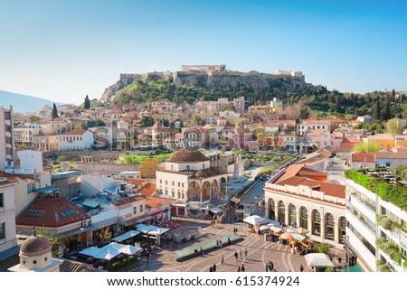 Skyline of Athens with Moanstiraki square and Acropolis hill, Athens Greece