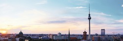 Skyline Of Berlin in Germany with TV Tower, Berlin Cathedral and Town Hall on a sunset