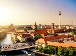 skyline of berlin in sunset