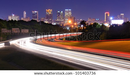 Skyline of Birmingham, Alabama from above Interstate 65.