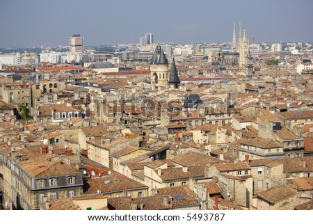 Skyline of Bordeaux, France, showing one of the old entry gates to the city and the Catheral of St. Andre.