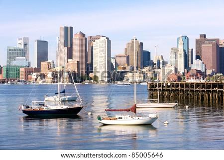 Skyline of Boston in Massachusetts.