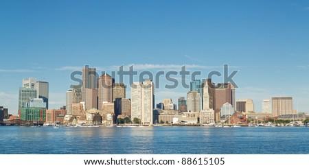Skyline of Boston, the capital of Massachusetts. - stock photo