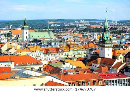 Skyline of Brno city in the sunny day, Czech Republic