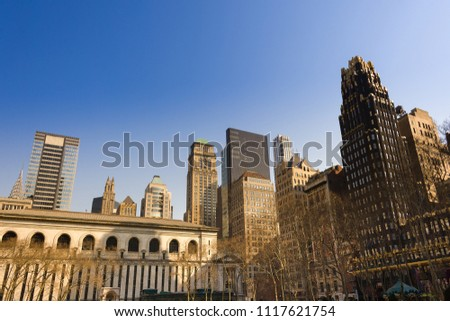 Skyline of buildings at midtown Manhattan from Bryant Park, New York City, USA #1117621754