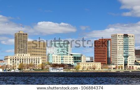 Skyline of Cambridge, Massachusetts from across the Charles River.