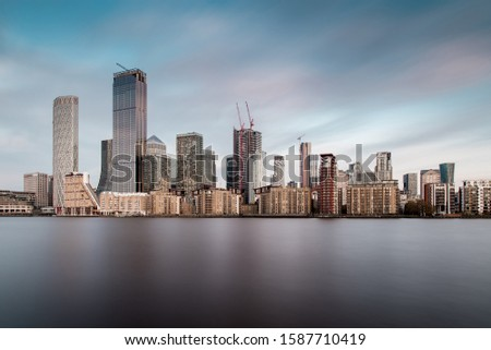 Skyline of Canary Wharf District, the Financial District in London, With New Skyscrapers Rising