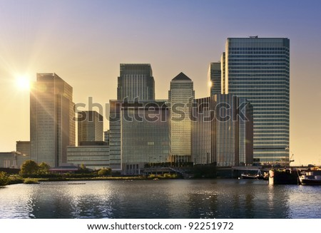 Skyline of Canary Wharf in sunset, London, UK