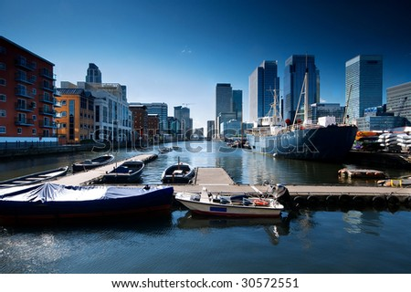 stock photo : Skyline of Canary Wharf view from West India Millwall Docks. This view