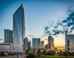 Skyline of Charlotte, North Carolina at sunrise.