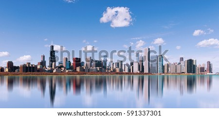 Stock Photo Skyline of Chicago city with reflection, illinois. USA