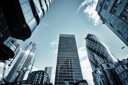 Skyline of  City of London,( Lloyds of London, Tower 42, Aviva and the Gherkin)