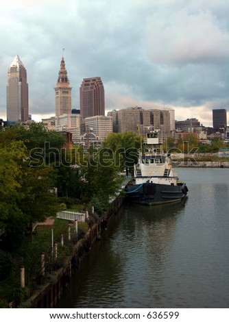Skyline of Cleveland, Ohio with Boat on the Cuyahoga River