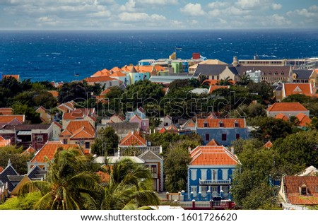 Skyline of colorful houses of Willemstad, curacao