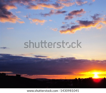 skyline of colorful sky and sunset