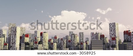 skyline of 3d city with clouds in sky