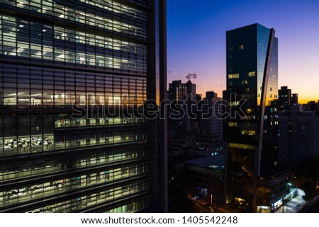Skyline of Downtown Belo Horizonte during Dusk, Saint Augustine (Santo Agostinho) Neighborhood