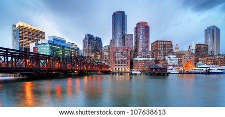 Skyline of downtown Boston from the pier