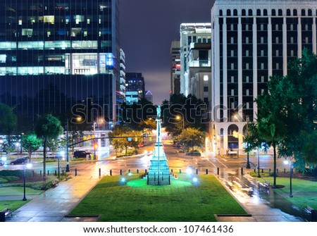 Skyline of downtown Columbia, South Carolina on Main Sreet. - stock photo