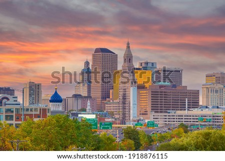 Skyline of downtown Hartford city, cityscape in Connecticut  in USA Сток-фото ©