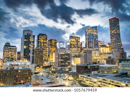 Skyline of Downtown Houston at Dusk - Houston, Texas, USA