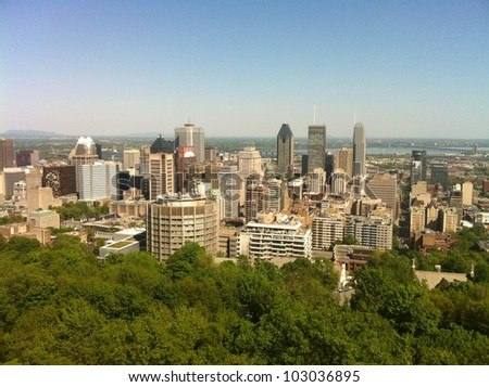 Skyline of downtown Montreal, in Quebec, Canada