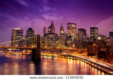 Skyline of downtown New York - stock photo