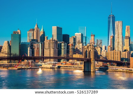 Skyline of downtown New York, Brooklyn Bridge and  Manhattan at the morning light , New York City, USA