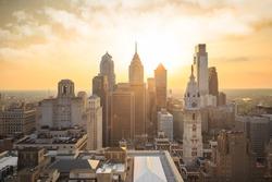 Skyline of downtown Philadelphia at sunset