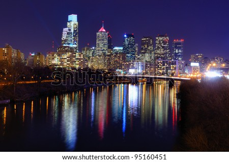 Skyline of downtown Philadelphia, Pennsylvania. - stock photo