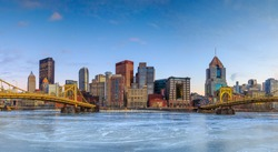 Skyline of downtown Pittsburgh at twilight panorama
